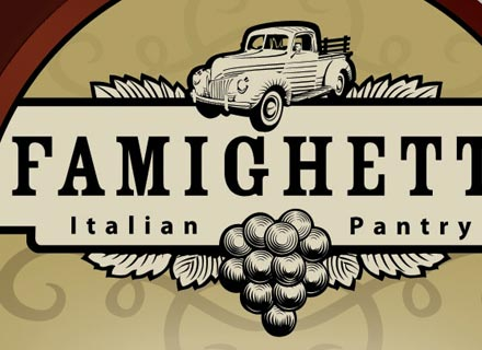 Close up of Famighetti logo
