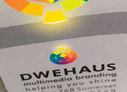 close up of Dwehaus marketing sticker